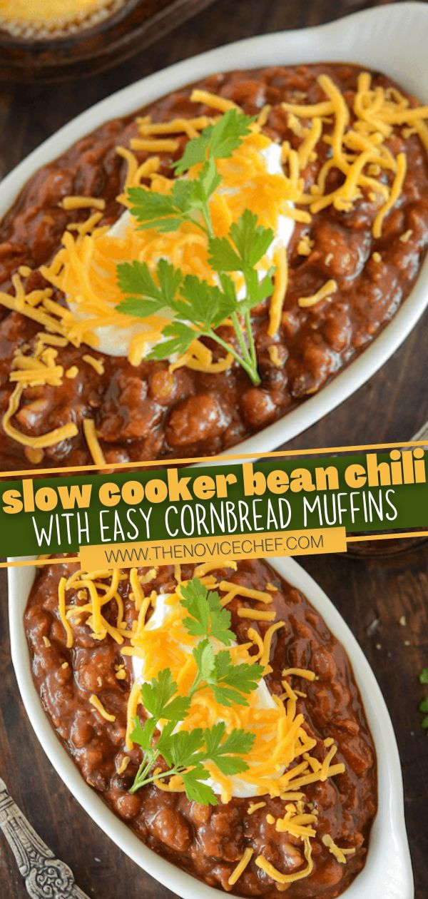 Slow Cooker Bean Chili With Easy Cornbread Muffins Slow Cooker Vegetarian Chili Slow Cooker Bean Chili Slow Cooker Vegetarian