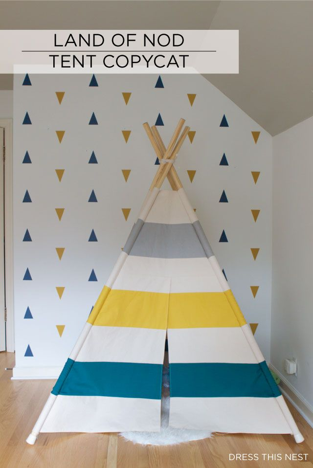 land of nod teepee DIY copycat via dress this nest                                                                                                                                                      Mais
