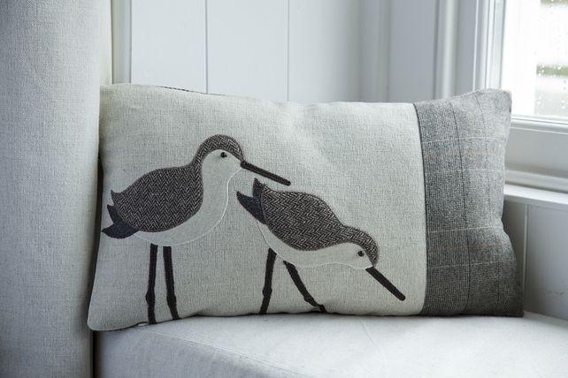 Handmade Dunlin wading bird cushion with brown herringbone wool and linen £54.00