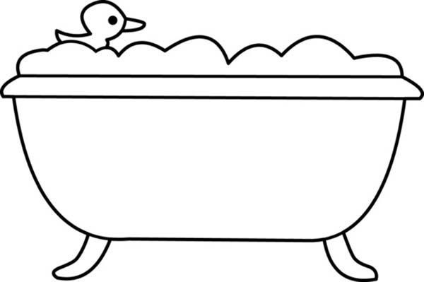How To Draw Bathtub For Kids Art Coloring Page For Girls With Colored Marker