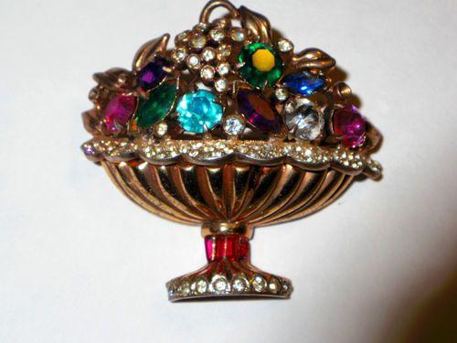 40'S Coro Craft Sterling Fruit & Flower Basket Brooch