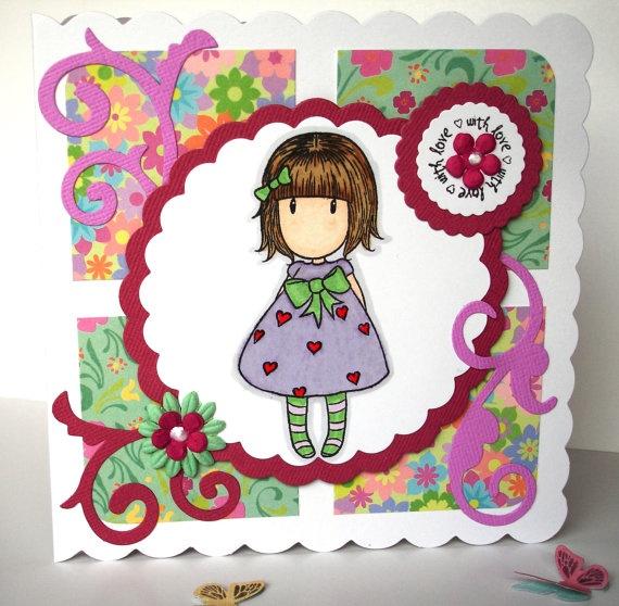 Little Heart Gorjus Girl 'With Love' Handmade by pollypurplehorse, £3.75