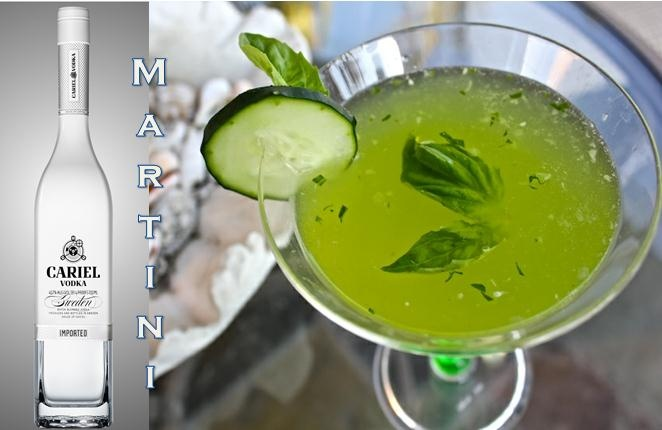 Cucumber Basil Martini  - (Serves 2)  4 oz Vodka, 1 oz St. Germain, 1 oz Vermouth, ¼ Large Cucumber,  (peeled, seeded, diced) 6 Large Basil Leaves (chopped medium-fine) ¼ Lime Juice Directions Muddle cucumber, lime juice, and basil together in a cocktail shaker. Add vodka, St. Germain, and vermouth. Fill with ice and shake well. Strain into a martini glass.