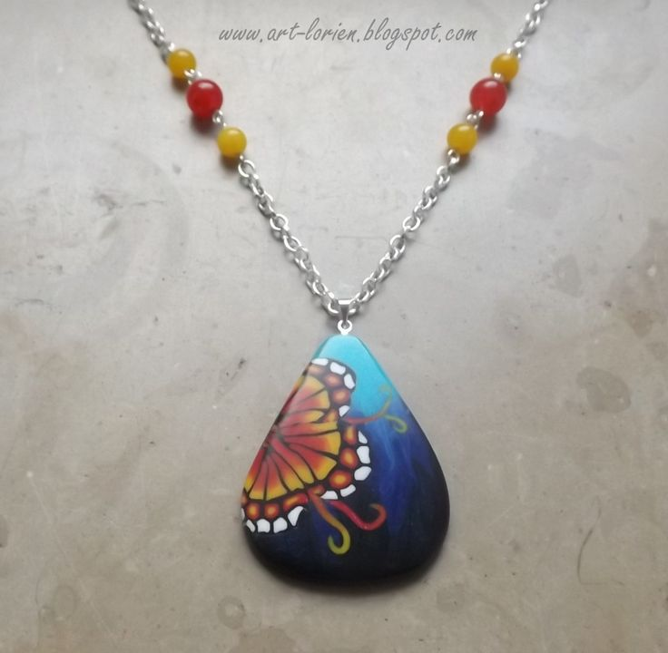 Polymer clay necklace, pendant