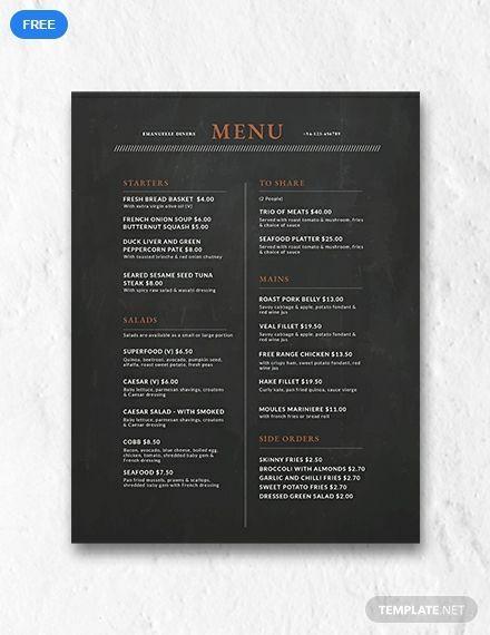 Free Chalkboard Menu Design Business Ideas Wedding Menu