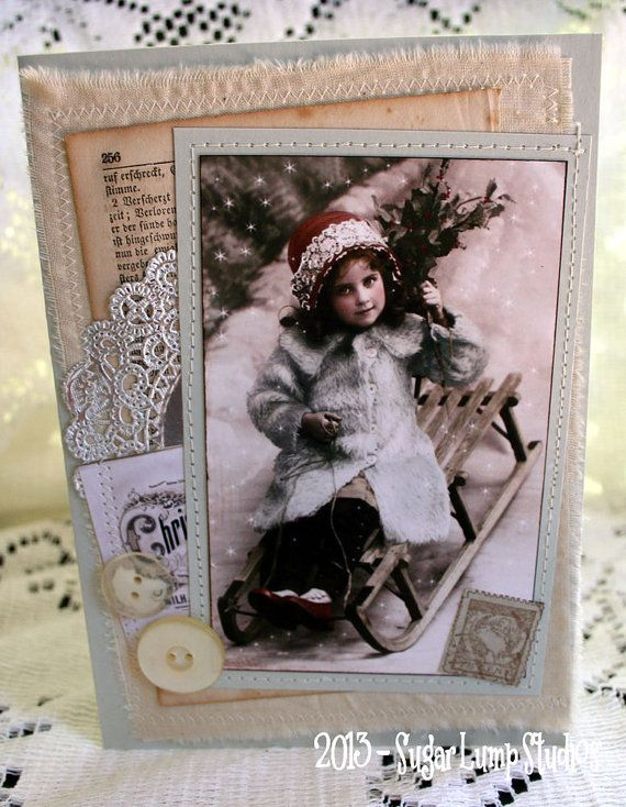 Sleigh Ride HANDMADE Fabric Christmas Collage Greeting Card