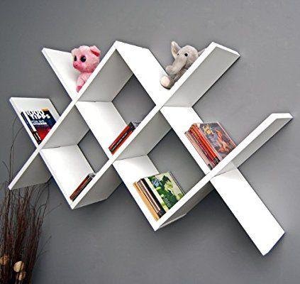 Design retro shelf caro white wall or stand shelf books CD hanging shelf  ts-ideen £29.90