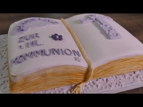 BUCHTORTE herstellen ohne spezielle Backform | Kommunionstorte | Tauftorte | Konfirmation - YouTube