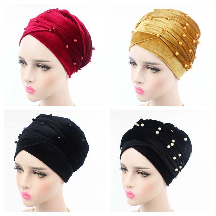 Velvet Turban Head Wrap With Beads