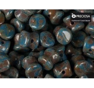 50pcs Pellet Beads 4x6mm Pressed Czech Glass Opaque Blue Travertine