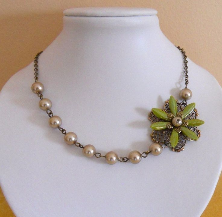 Asymmetrical Statement Necklace Choker Lariat Necklace bronze and green necklace Green Flower Elegance free shipping 29.00 USD Available at http://ift.tt/1NM3wVS