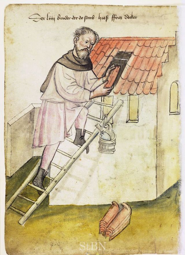 Illustration of a Roofer, Fritz - From the House Books of the Nuremberg Twelve…