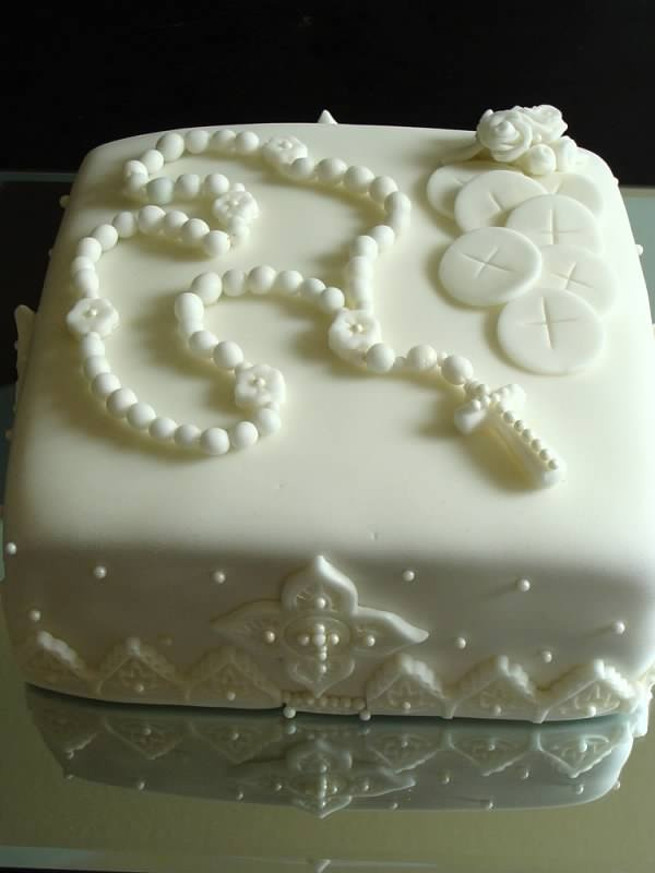 First communion cake all white