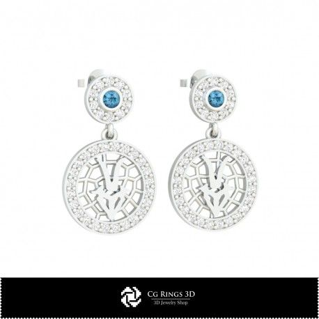 3D CAD Capricorn Zodiac Children Earrings