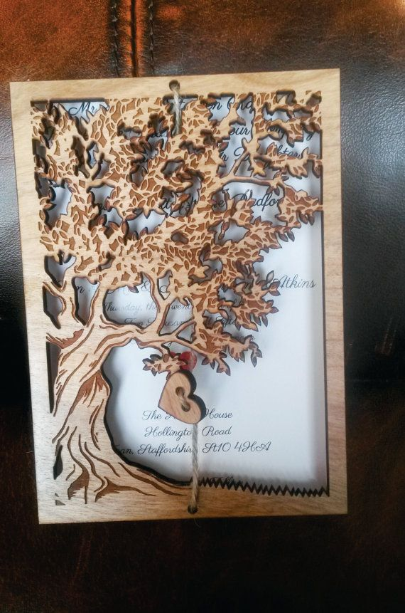 * This listing is for Tree of life Wood Wedding Invitation *    This wood Wedding Invitations are laser cut and engraved.They are made from