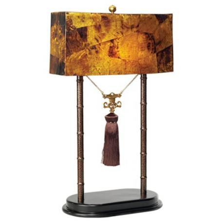 Maitland Smith Faux Tortoise Pen Shell Shade Table Lamp