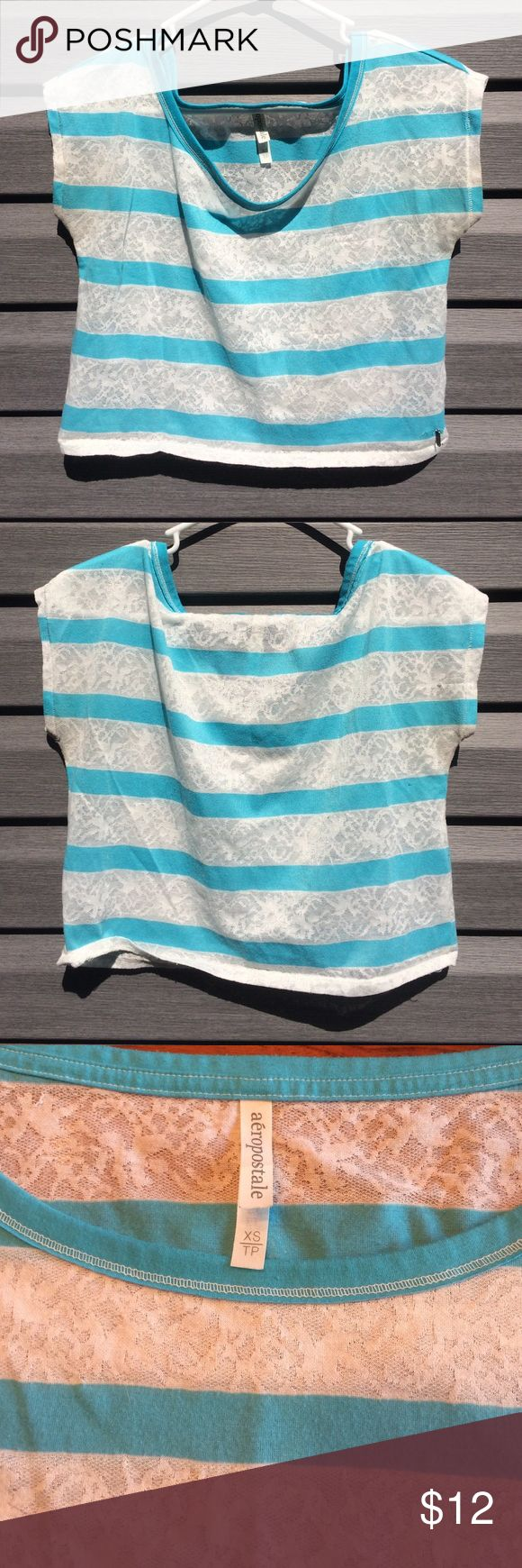 Aeropostale turquoise & white shirt Aeropostale turquoise & white striped shirt. It's a short half shirt with white being the lace. In good condition. Aeropostale Tops Tees - Short Sleeve