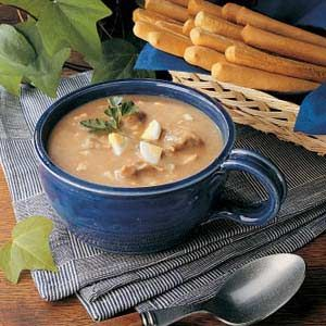 "Turtle Soup Recipe -This hearty soup has a real ""snappy"" flavor from the cayenne pepper and lemon juice. It's a treat and good use of turtle meat. With a salad and fresh bread, a steaming bowlful makes a nice meal. -Dave Wood, Elmwood Park, New Jersey"