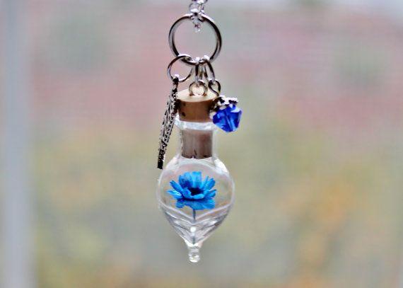 Terrarium collier bleu fleur et cristal bijoux saphir septembre naissance cadeau Unique en forme de goutte en verre bouteille charme