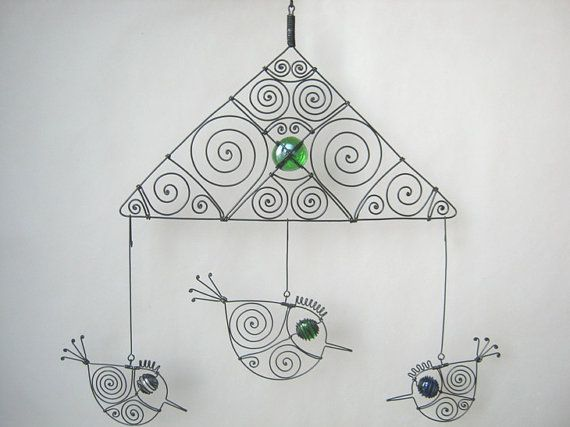 Wire Mobile With Three Birds by MyWireArt on Etsy, $70.00