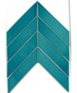 Ceramic Chevron Subway Tile Blue Teal Agate | Modwalls Designer Tile