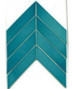 Ceramic Chevron Subway Tile Blue Teal Agate | Modwalls Designer Tile
