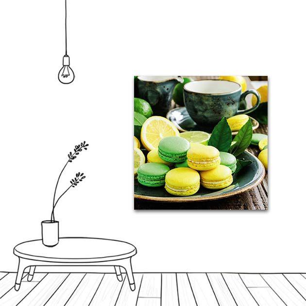 Tableau décoration macarons pistache citron.