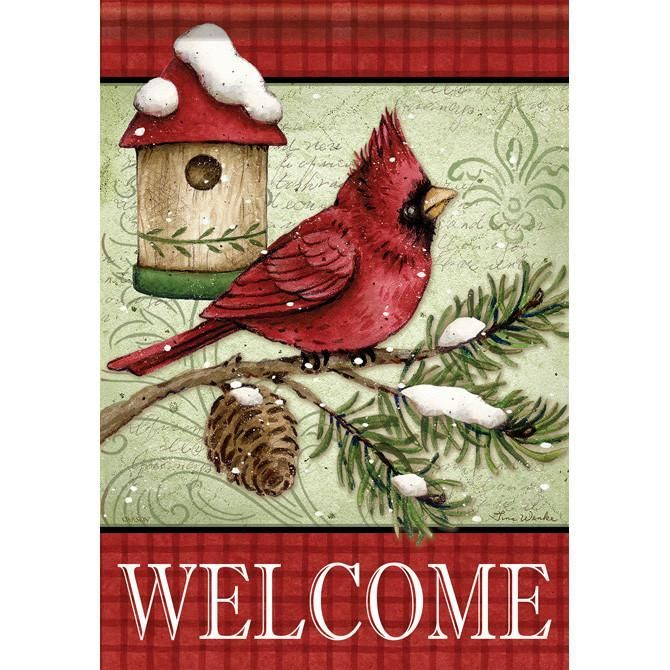 Cardinal U0026 Pine Birdhouse Garden Dura Soft™ Flag