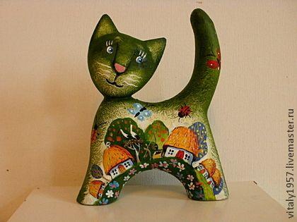 Игрушки животные, ручной работы. Ярмарка Мастеров - ручная работа Маленький котенок  , скульптура дерево авторская роспись. Handmade.
