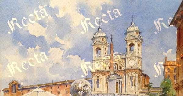 Acquerello su carta 30cm x 25cm  ♦  Recta Galleria d'arte -  Roma - Pittori e dipinti dell'ottocento e novecento, arte e scultura 800 e primo 900