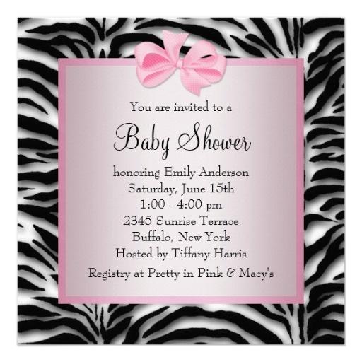 Pink Black Shoes Pink Zebra Baby Shower Custom Invitation from Zazzle.com