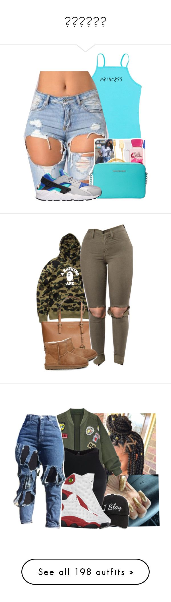 """"" by paris-doll ❤ liked on Polyvore featuring NIKE, A BATHING APE, Michael Kors, UGG Australia, WithChic, Steve Madden, Onzie, SimpleOutfits, jordans and bomberjackets"