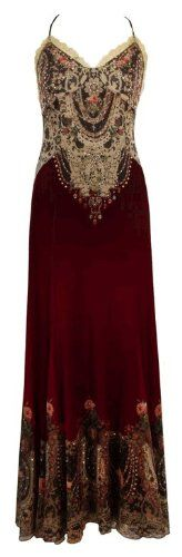 Buy New: $1,867.00: Burgundy Long Backless Evening Dress Designed by Michal Negrin Made of Chiffon Lycra Decorated with Spaghetti Straps, Lace Detailing and Lace Like and Roses Authentic Print with Swarovski Crystal Accents