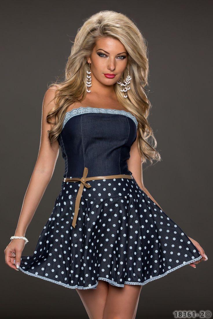 Schönes #Minikleid für Damen in der Farbe dunkelblau mit Ledergürtel. Details wie das gepunktete Muster in Verbindung mit dem Spitzen-Häkel Besatz am Ausschnitt verleihen diesem Kleid einen unverwechselbaren Vintage-Charakter. #vintage #minidress