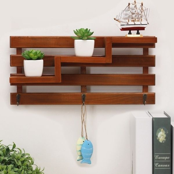 Design Wood Shelving Wall Hanging Clothes Hanger Hook Kitchen Commodity Shelf Hanging Rack Shelf Wish In 2020 Wood Box Shelves Wall Rack Design Wooden Wall Shelves