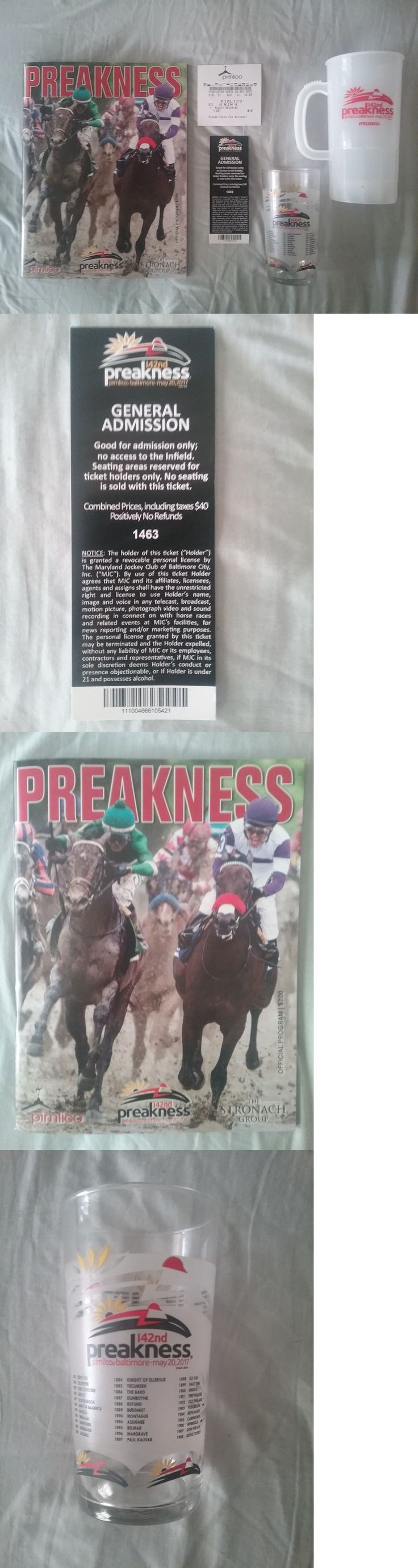 Horse Racing 429: 2017 Preakness Collection! Admission Ticket - Program - Glass - Cup - Win Ticket -> BUY IT NOW ONLY: $59.95 on eBay!