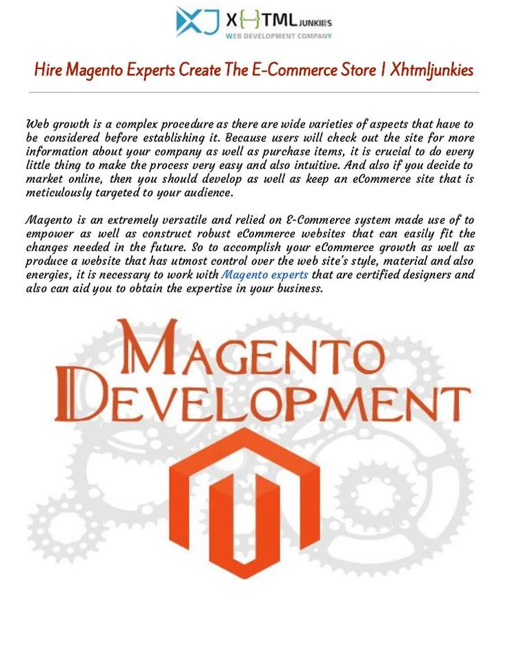 """Procure Magento Experts Create The E-Commerce Store 