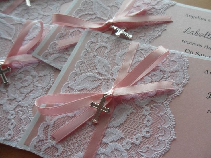 Christening/Baptism Rustic Pink Vintage Lace Invitation by MostInvitingByKristi on Etsy