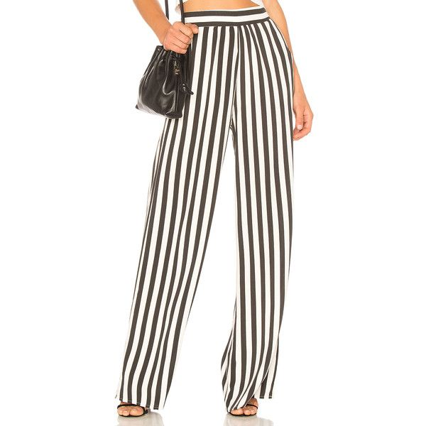 BCBGeneration Palazzo Pant In Black Combo ($98) ❤ liked on Polyvore featuring pants, palazzo trousers, viscose pants, rayon pants, elastic waist pants and elastic waistband pants