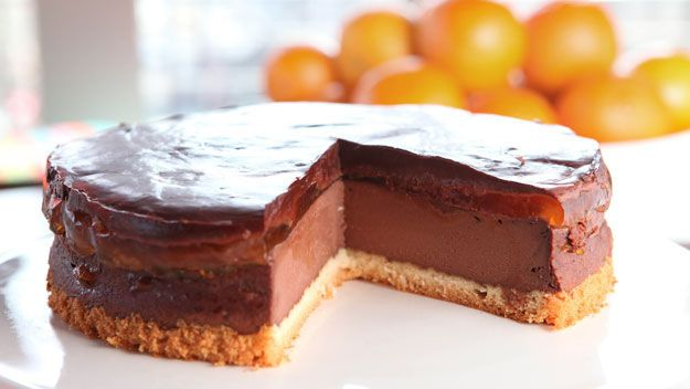 A light chocolate cheesecake with an orange jelly layer and smooth chocolate topping from Simon Rimmer on Sunday Brunch