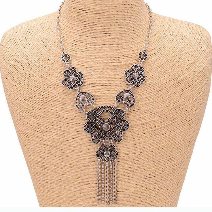 Vintage Hellow Out Rumbai Pernyataan Kalung Wanita Musim Panas Gaya Kalung & Liontin Colar Perhiasan Untuk Hadiah Pesta
