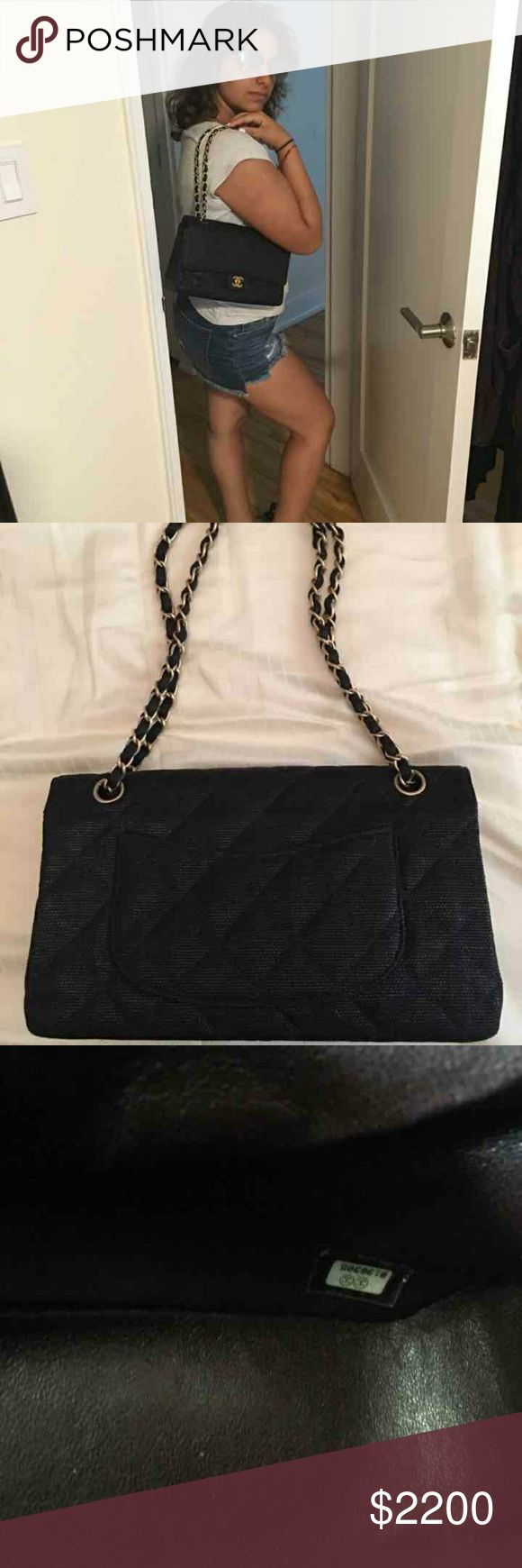 Chanel double flap Canvas outside leather inside. Excellent condition. 100% authentic CHANEL Bags Crossbody Bags
