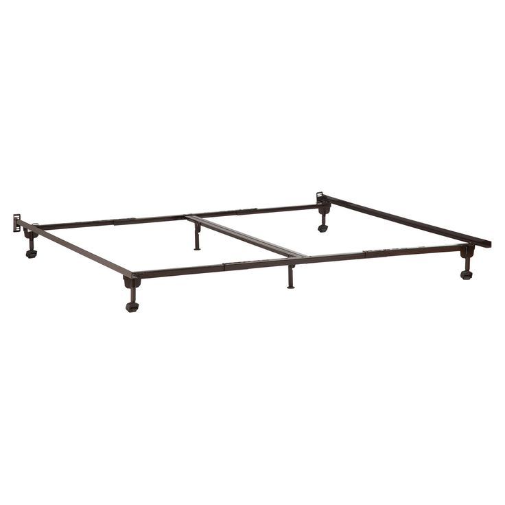 atlantic furniture premium queenking metal bed frame with casters from hayneedlecom
