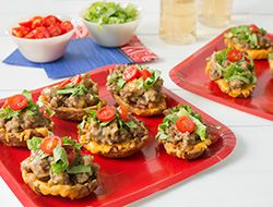 It's 4th & Goal… what do you do? Grab some Cheeseburger Potato Skins, of course! Here's the #recipe for this Super Snack! And get $1.50 off any two snack items now at www.farmrich.com/gameday #GameDayFood