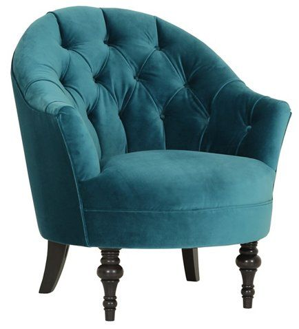 Elizabeth Accent Chair, Cyan Velvet - Kim Salmela - One Kings Lane