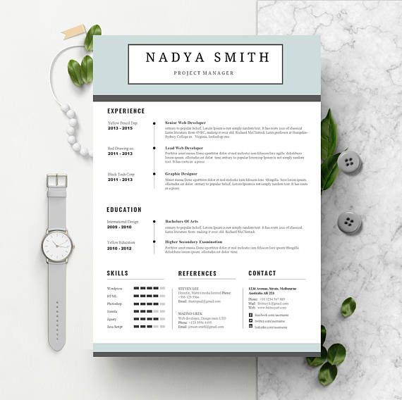 Professional Resume Template Instant Download CV template