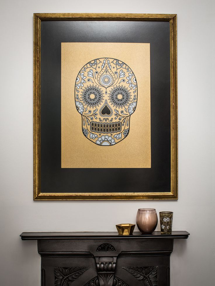 limited edition signed gold sugar skull screen print by anatomy boutique the morbid anatomy. Black Bedroom Furniture Sets. Home Design Ideas