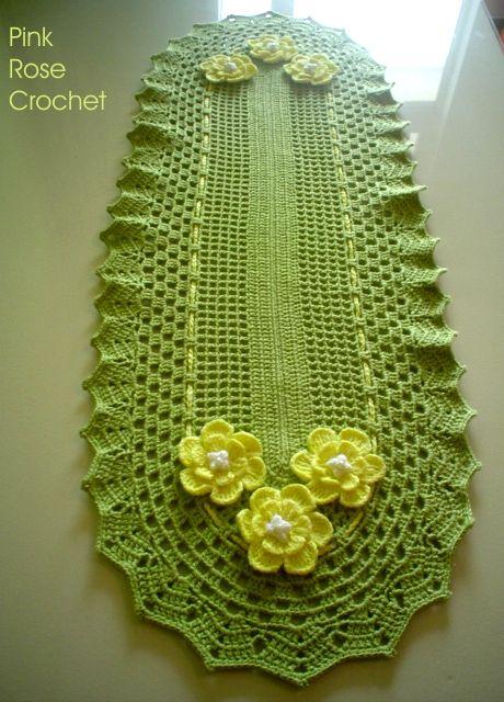 trilhos de mesa em croche com flores | de dezembro de 2006
