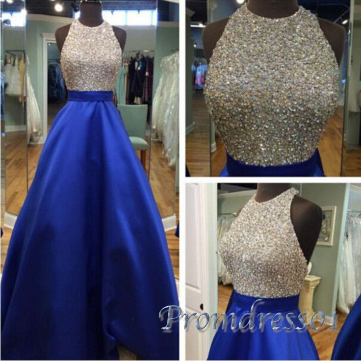 2016 pretty halter navy blue satin long poofy prom dress with sequins top, evening dress, prom dresses for teens #coniefox #2016prom
