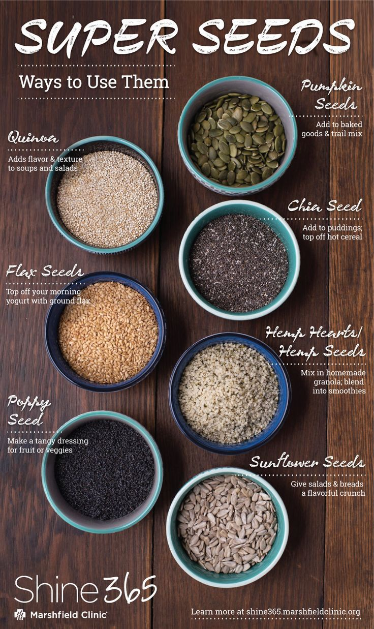 Super seeds have higher levels of vitamins and minerals than most foods in the American diet. Add them to your smoothies, salads, yogurt, cereal or soup.